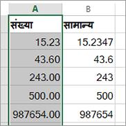 संख्या और सामान्य स्वरूपों जैसे विभिन्न स्वरूपों के साथ संख्याओं के दिखाई देने के तरीके का नमूना.