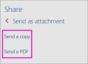 कोई दस्तावेज़ किसी प्रतिलिपि के रूप में या किसी PDF के रूप में ईमेल करने के लिए फ़लक साझा करें में दो विकल्पों की छवि