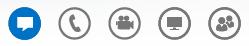 वार्तालाप विंडो के निचले तल पर चिह्नों वाला स्क्रीन शॉट
