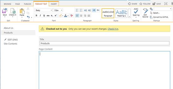 पीली पट्टी के साथ नए प्रकाशन पृष्ठ का स्क्रीनशॉट जो इंगित करता है कि पृष्ठ चेक आउट कर दिया गया है