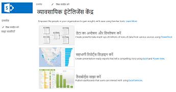 SharePoint Online में किसी व्यवसाय इंटेलिजेंस केंद्र साइट का मुख पृष्ठ
