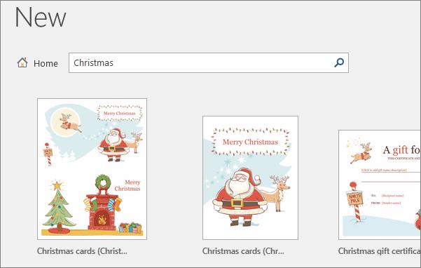 Word 2016 के लिए क्रिसमस टेम्पलेट्स दिखाता है