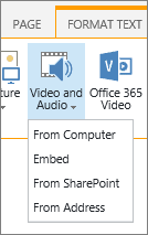 वीडियो या ऑडियो बटन संपादित करें रिबन में सम्मिलित करना
