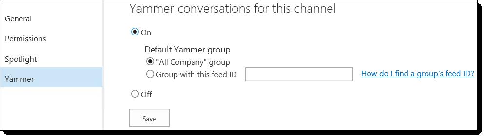 O365 वीडियो Yammer सेटिंग