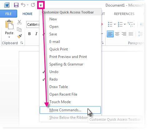 अधिक आदेश पर क्लिक करके त्वरित पहुँच उपकरण पट्टी अनुकूलित करें