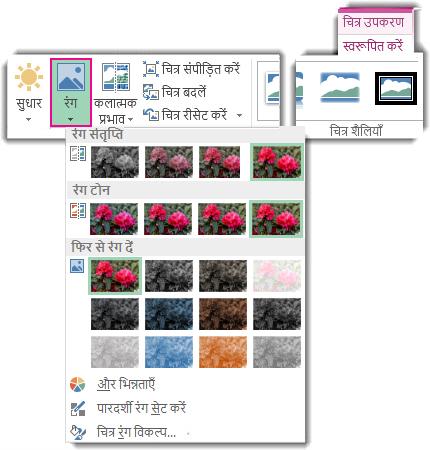 चित्र उपकरण स्वरूपण टैब से खोला गया रंग बटन मेनू
