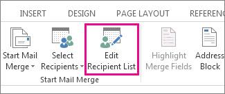 Word में प्राप्तकर्ता सूची संपादित करें आदेश हाइलाइट किए गए के रूप में दिखा रहा है, तो मेलिंग टैब का स्क्रीनशॉट।