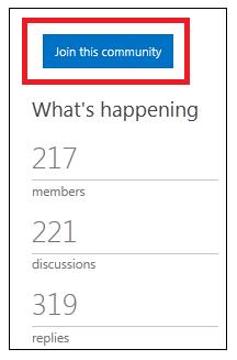 बटन का स्क्रीन शॉट जो बताता है कि इस समुदाय में शामिल हों.