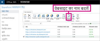 SharePoint व्यवस्थापन केंद्र में, वेबसाइट का नाम बदलें चुनें