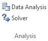 डेटा टैब पर विश्लेषण समूह