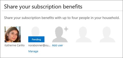 """किसी साझा किए गए उपयोगकर्ता लंबित के रूप में दिखाता है जो Office 365 साझा करें पृष्ठ के """"अपनी सदस्यता लाभों को साझा"""" अनुभाग का स्क्रीन शॉट।"""