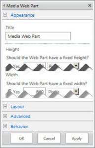 उन गुणों में से कुछ को, जिन्हें आप कॉन्फ़िगर कर सकते हैं, दिखाते हुए मीडिया वेब पार्ट संपादन फलक का स्क्रीनशॉट