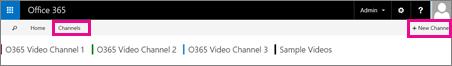 चैनल्स बटन और + नया चैनल बटन