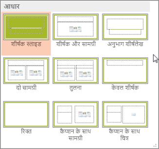 PowerPoint में स्लाइड लेआउट्स