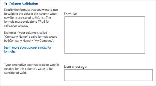 नया प्रश्न संवाद का सत्यापन अनुभाग