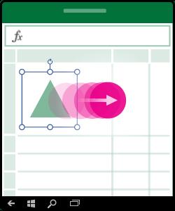 आकृति, चार्ट या अन्य ऑब्जेक्ट को स्थानांतरित करने का तरीका दिखाता हुआ आर्ट