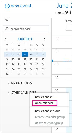 Outlook Web App में अन्य कैलेंडर खोलने के तरीके दिखाने वाला स्क्रीनशॉट