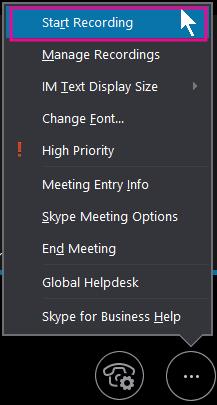 अपनी व्यवसाय के लिए Skype मीटिंग के दौरान, रिकॉर्डिंग प्रारंभ करें क्लिक करें