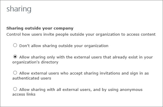 बाह्य उपयोगकर्ताओं के साथ साझा करने के लिए विकल्प