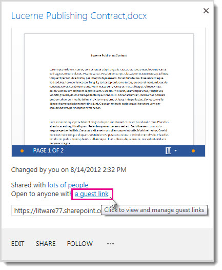 गुण संवाद बॉक्स दिखा रहा है कि दस्तावेज़ को किसी अतिथि लिंक के साथ साझा किया गया है.
