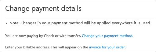 वर्तमान में इनवॉइस द्वारा भुगतान की गई सदस्यता के लिए 'भुगतान विवरण परिवर्तित करें' फलक का स्क्रीन शॉट।