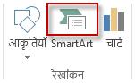 सम्मिलित करें टैब पर रेखांकन समूह में SmartArt