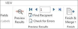 पूर्वावलोकन परिणाम समूह दिखाता हुआ Word में, मेलिंग टैब का स्क्रीनशॉट।