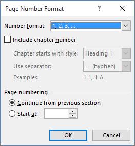 किसी स् वरूप और पृष्ठ क्रमांकों के लिए प्रारंभिक संख्या में पृष्ठ संख्या स्वरूप का चयन करें।