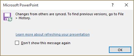 PowerPoint में सिंक्रनाइज़ किए गए परिवर्तन संदेश दिखाता है