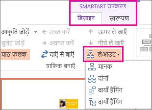 किसी SmartArt संगठन चार्ट के लिए लेआउट विकल्प