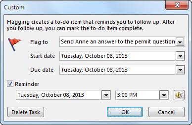 अनुस्मारक, प्रारंभ और नियत दिनांक सेट करने के लिए कस्टम संवाद बॉक्स