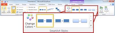 SmartArt उपकरण के अंतर्गत डिज़ाइन टैब