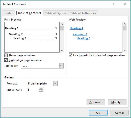 अपनी सामग्री तालिका का प्रकटन अनुकूलित करने के लिए सामग्री तालिका संवाद बॉक्स का उपयोग करें।
