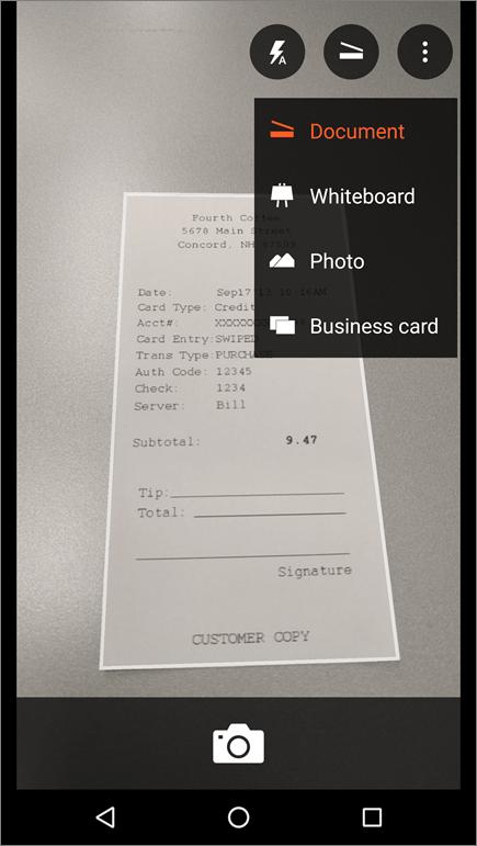 Android के लिए Office Lens में कोई छवि कैप्चर करने के तरीके का स्क्रीनशॉट.