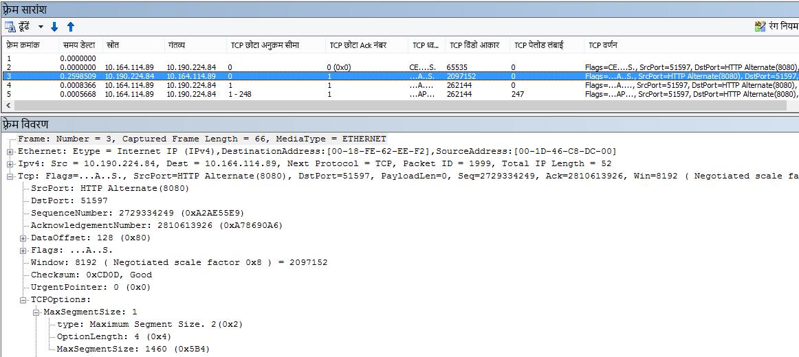 अंतर्निहित स्तंभों का उपयोग कर नेटवर्क ट्रेस को Netmon में फ़िल्टर किया गया.