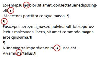 एक ई-मेल संदेश में स्वरूपण चिह्नों के उदाहरण