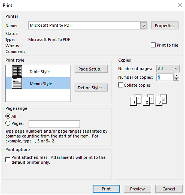 Outlook मुद्रित करें संवाद बॉक्स प्रिंटर विकल्प