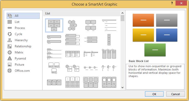 किसी SmartArt ग्राफ़िक चुनें संवाद बॉक्स में विकल्प