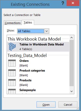 डेटा मॉडल में तालिकाएँ