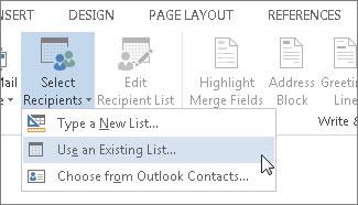 प्राप्तकर्ताओं का चयन करें आदेश का उपयोग किसी मौजूदा सूची विकल्प चयनित के साथ दिखाता हुआ Word में, मेलिंग टैब का स्क्रीनशॉट।