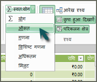 PowerPivot में AutoSum