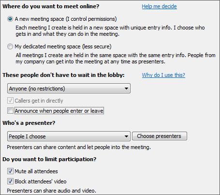 अधिक श्रोताओं के लिए चयनित विकल्प वाले मीटिंग विकल्पों का स्क्रीन शॉट