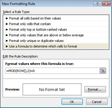 नया स्वरूपण नियम संवाद बॉक्स में सूत्र