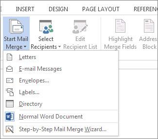 Word मेल मर्ज प्रारंभ करें आदेश और मर्ज चलाने के लिए इच्छित प्रकार के लिए उपलब्ध विकल्पों की सूची दिखा रहा है, तो मेलिंग टैब का स्क्रीनशॉट।
