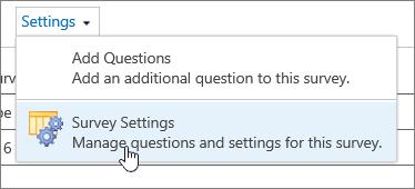 हाइलाइट किए गए सर्वेक्षण सेटिंग के साथ सर्वेक्षण सेटिंग्स मेनू