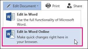 Word Online में संपादित करें आदेश की छवि