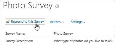 हाइलाइट किए गए इस सर्वेक्षण प्रतिसाद के साथ सर्वेक्षण पृष्ठ