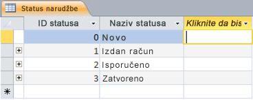 Stupac Kliknite da biste dodali u prikazu podatkovnog lista