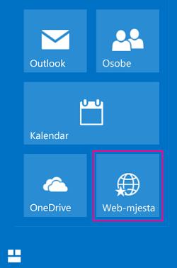 Odaberite pločicu Web-mjesta da biste vidjeli popis web-mjesta sustava SharePoint