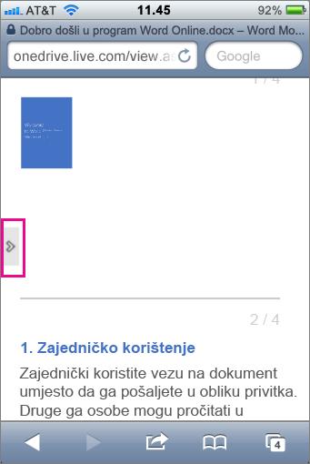 Dodirnite da biste otvorili alatnu traku u preglednicima datoteka sustava Office za mobilne uređaje